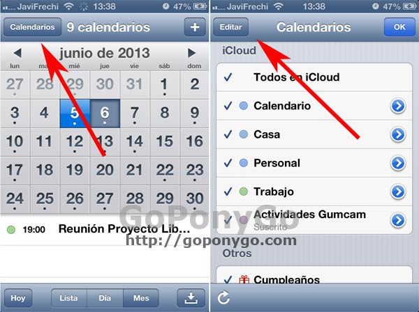 Cómo crear y gestionar Calendarios en el iPhone o iPad