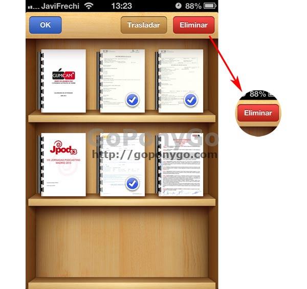 Cómo borrar un PDF de iBooks