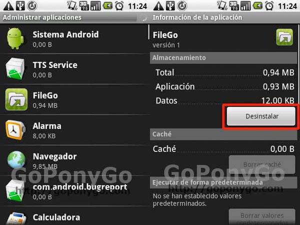 Desinstalar aplicaciones sin Android Market