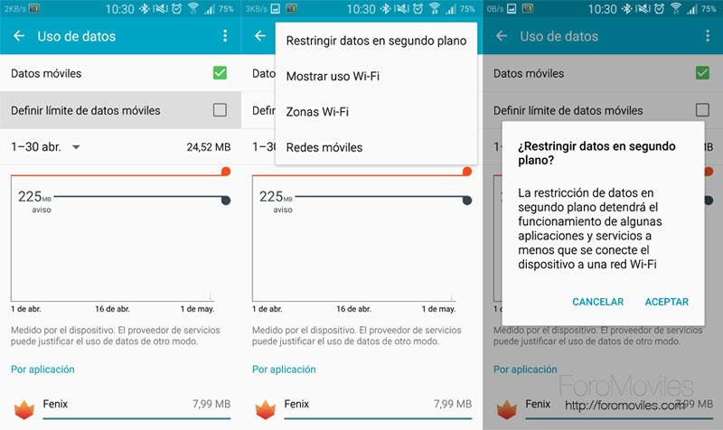 Desactivar datos en Android