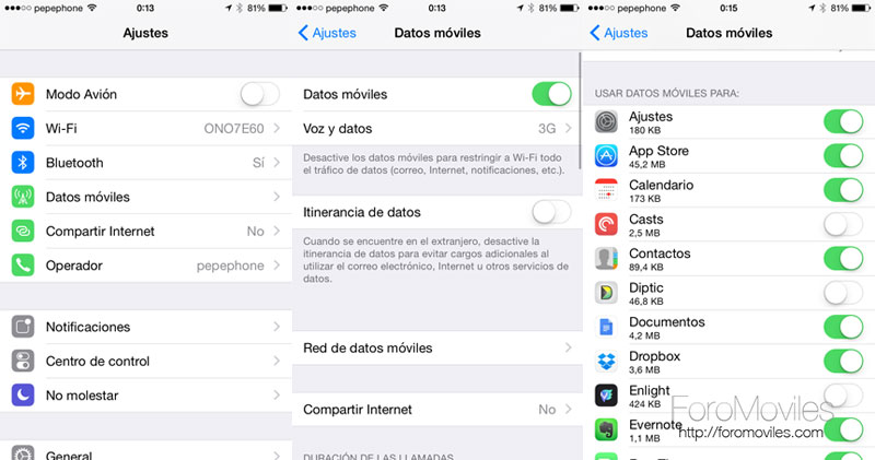 Desactivar datos en iOS