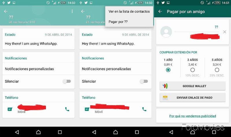 WhatsApp Pagar por un amigo