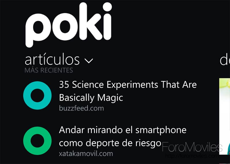 Pocket en Windows Phone
