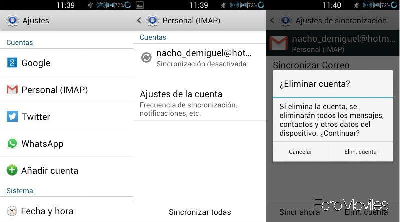 Cuentas Gmail Eliminar Cuentas