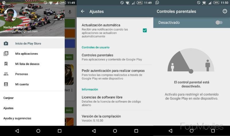 Control Parental Google Play Ajustes