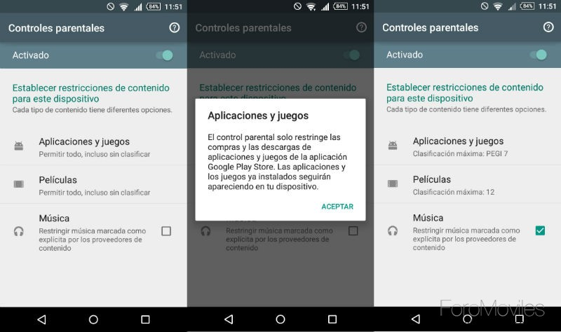 Control Parental Google Play Restricciones