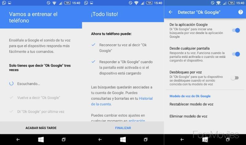 Detección de voz Google Now Entrenar Voz