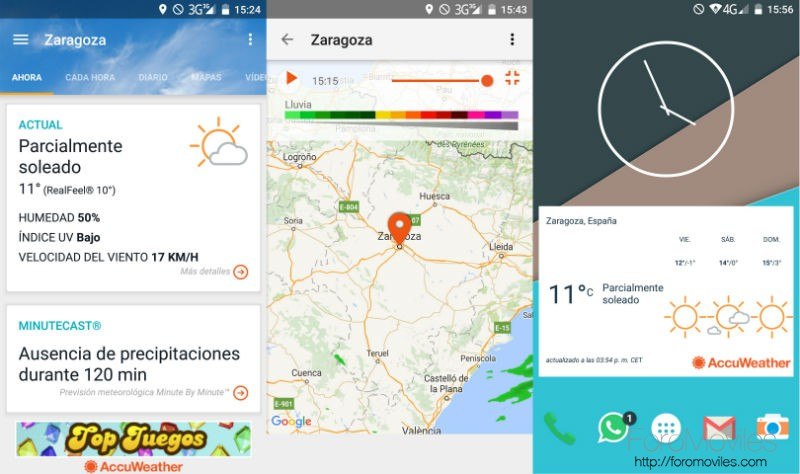 Aplicaciones Tiempo Android Accuweather