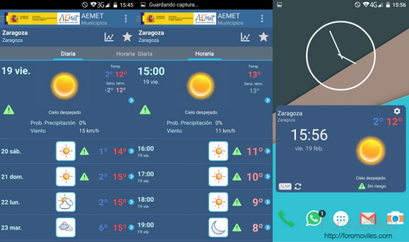 Aplicaciones Tiempo Android AEMET