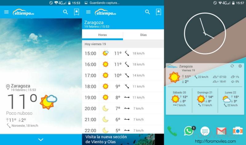Aplicaciones Tiempo Android eltiempo.es